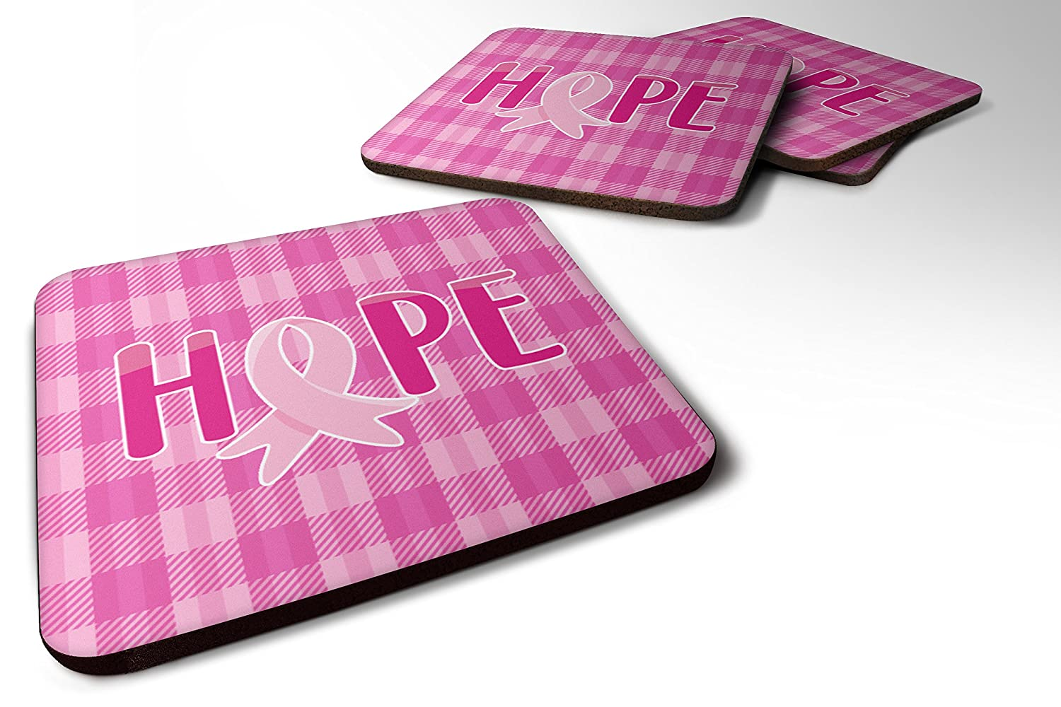 Caroline 's Treasures bb6981fcのセット4 Breast Cancer AwarenessリボンHope Foamコースターのセット4、3 1 / 2 x 3 1 / 2、マルチカラー   B06ZYCFYF8