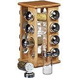 Relaxdays 10020317 Espositore/Dispenser Porta Spezie, con 16 Contenitori in Tutto, per Liquidi, con Base Girevole in Plastica, 19.5 X 19.5 X 30 cm, Marrone Chiaro