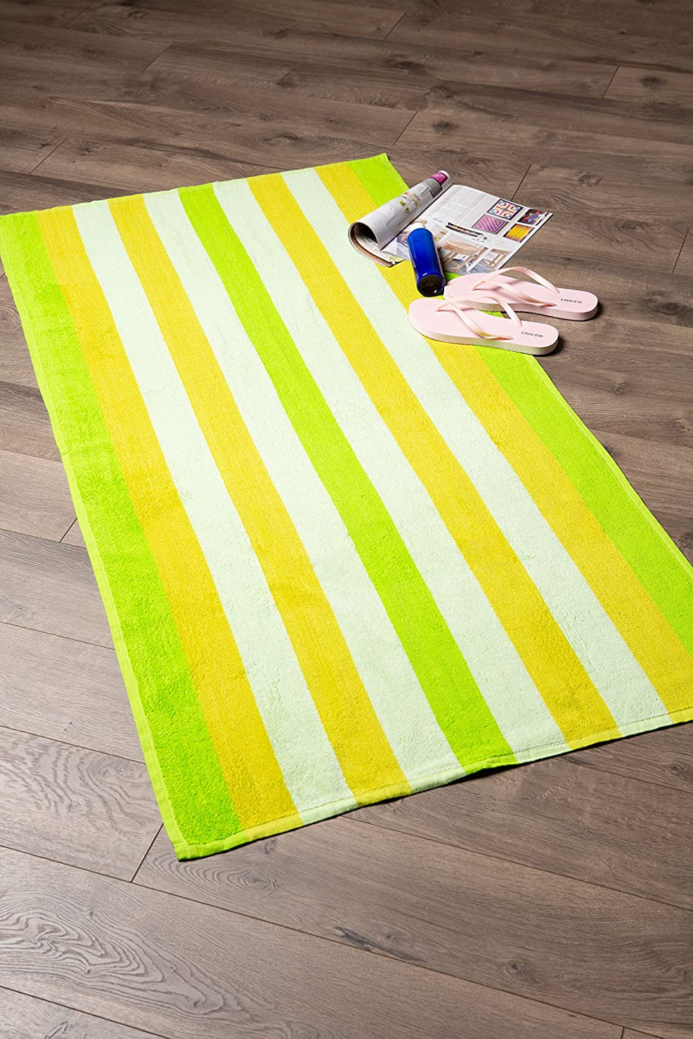 J/&M Home Fashions Candy Stripe Terry Cotton Beach Towel Soft Absorbent and Dry Fast for Swimming Pool Beach and Spa-Blue 32x64