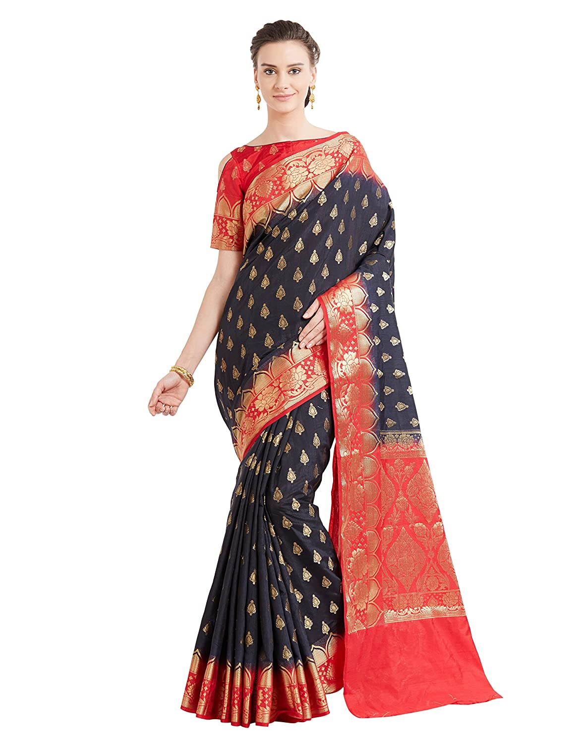 625989f0 Saree Color :- *Black* , Blouse Color :- *Red* Saree Fabric :- *Banarasi  Art Silk ( Two Tone Silk)* , Blouse Fabric :- *Banarasi Art Silk *