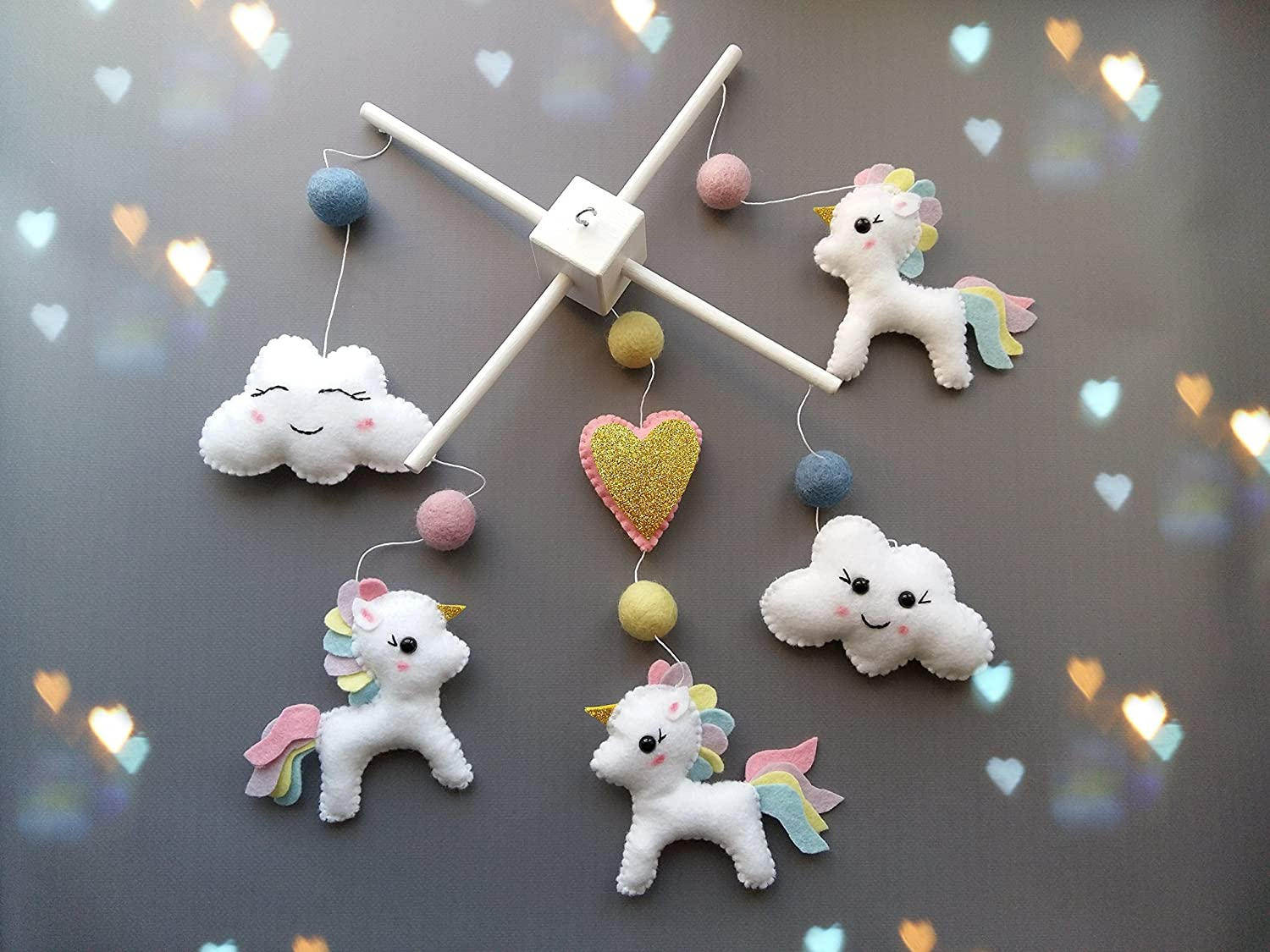amazoncom mobiles  nursery décor handmade products - unicorn baby mobile baby crib mobile modern nursery mobile cloud cot mobilerainbow uncorn baby mobile baby girl mobile pactel colors