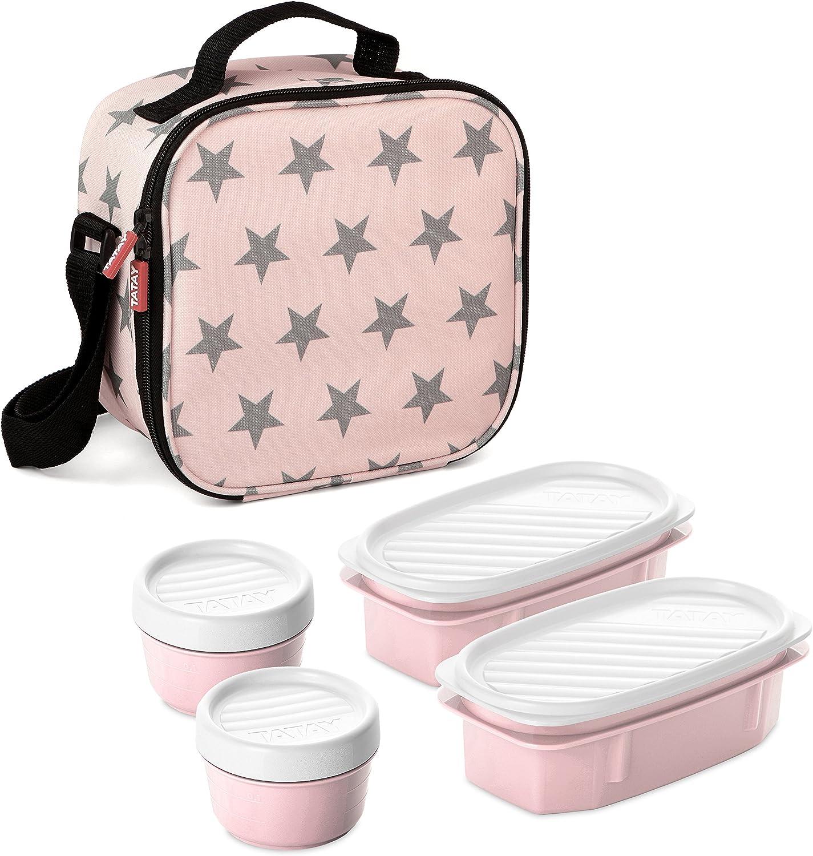 TATAY Urban Food Casual - Bolsa térmica porta alimentos con 4 tapers herméticos incluidos, 3 litros de capacidad, Rosa pálido, 22.5 x 10 x 22 cm