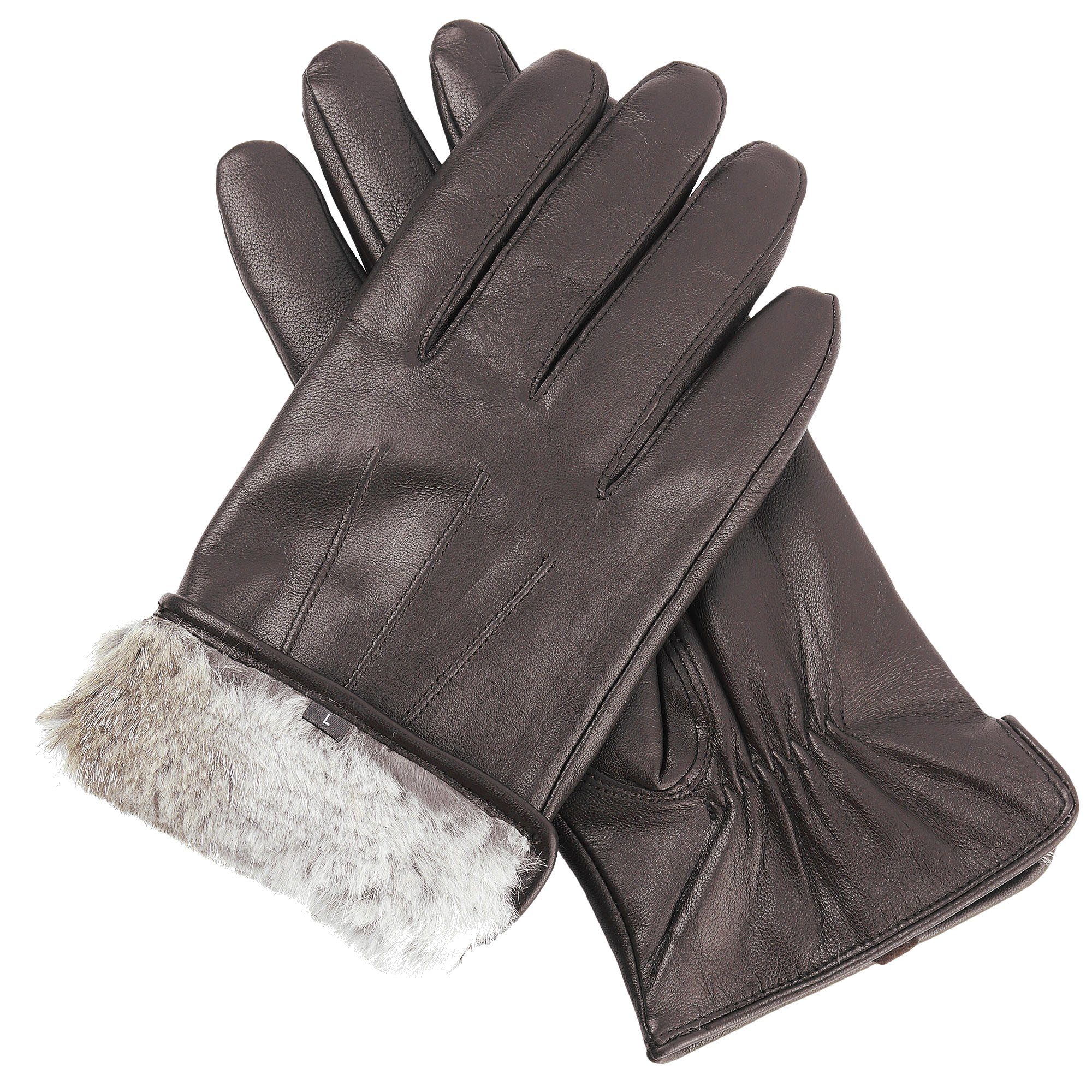 Candor and Class Men's Sheepskin Leather Gloves with Rabbit Fur Lining (Brown, Large)