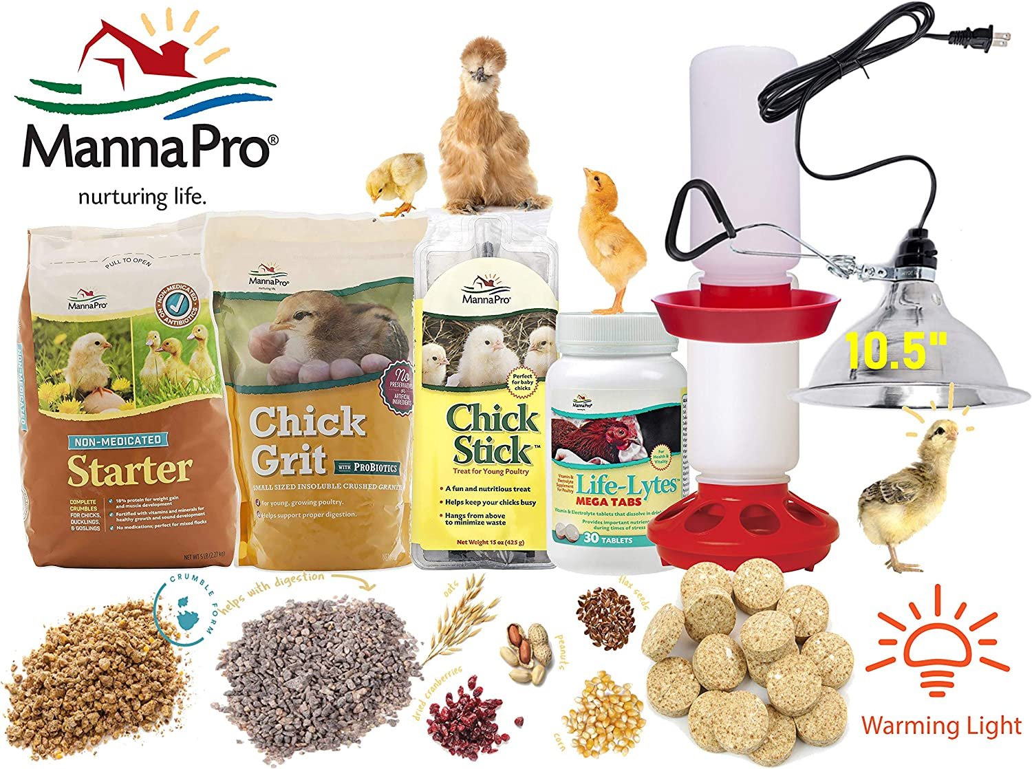 Manna Pro Chick Starter Kit Complete Master Set - Baby Chicken Supplies with Protein Crumbles, Chick Grit & Probiotics, Treat Stick, Vitamin & Electrolyte Supplement, Feeder, Waterer and Warming Light
