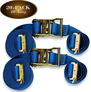Trailer Loads by DC Cargo Mall Tie Down Motorcycles Heavy Duty Blue Polyester Tie-Downs ETrack Spring Fittings Durable Cam Buckle Strap Cargo TieDowns Kit of 4: 2 x 20 E Track Cam Straps