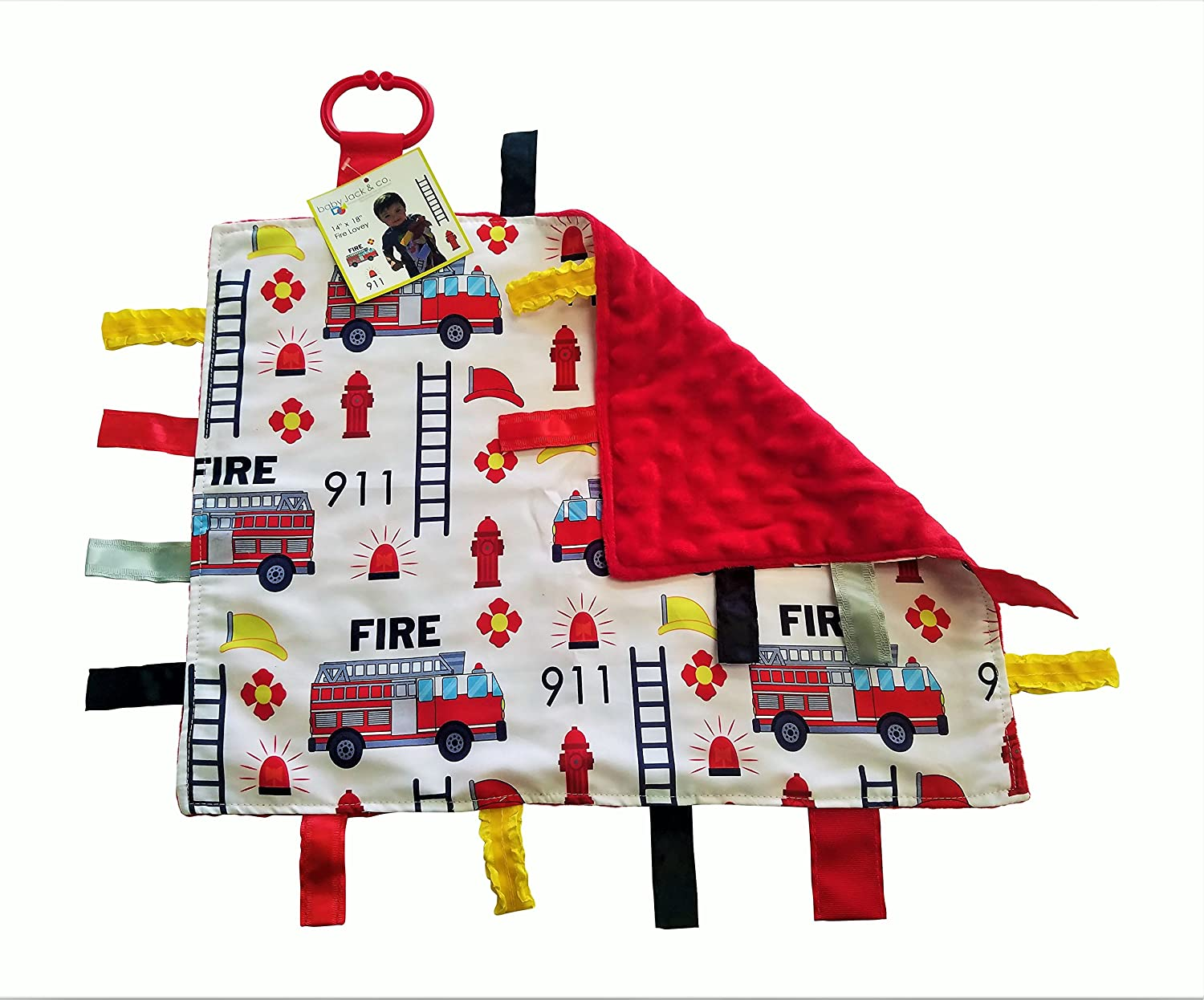 Firetruck // Tic Tac Toby Dog Baby Jack /& Co and Mary Meyer . Lovey Baby Tag Minky Dot Blanket Bundle with Wubbanub Pacifier