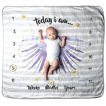 "3x Fluffier Newborn Monthly Milestone Blanket MeBlanky Baby Monthly Milestone Blanket Baby Photo Blanket for Boys or Girls 47/""x47/"" Super Soft Fleece Milestone Blanket First Year Baby Blanket"