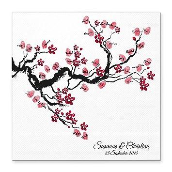 Madyes Leinwand Hochzeit Fingerabdruck Gästebuch Personalisiert Baum