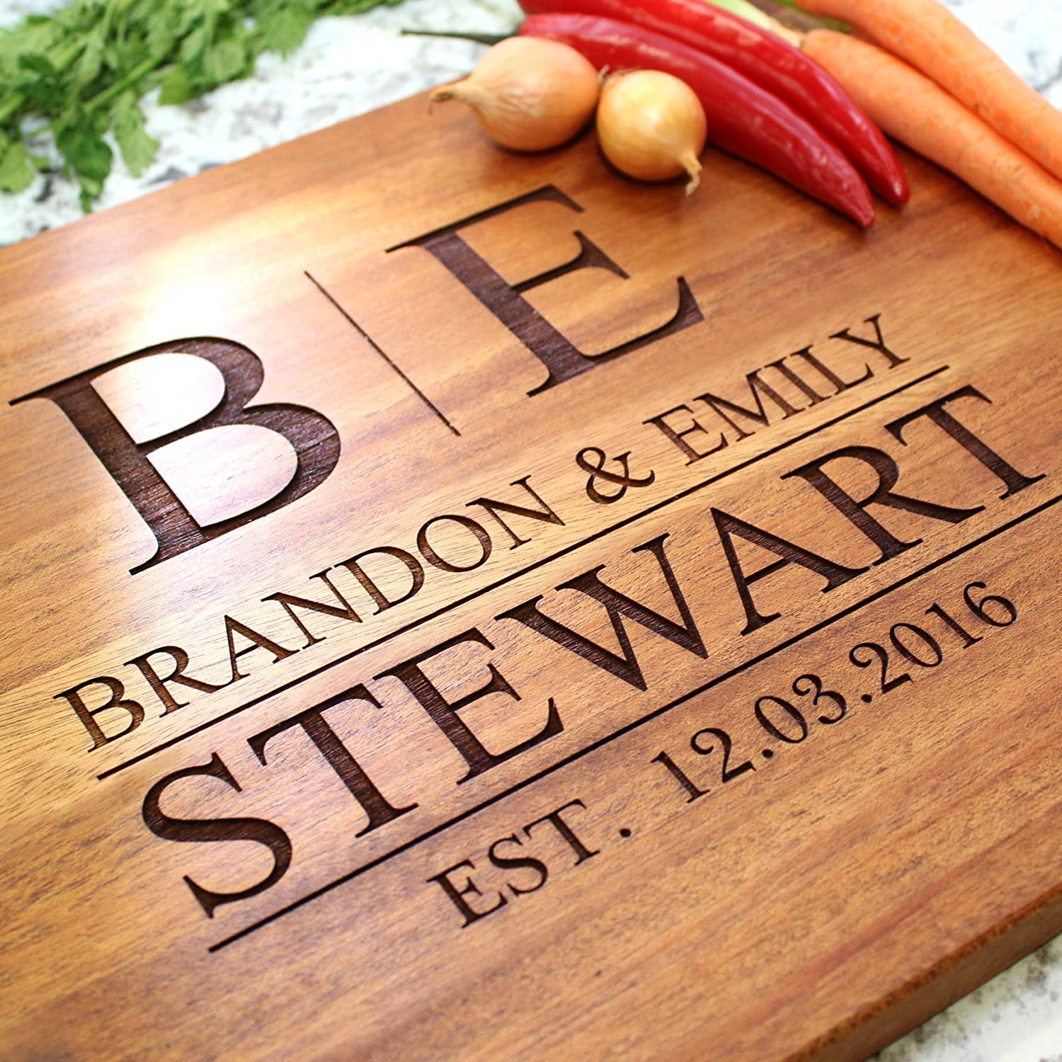 Contemporary Family Wedding Personalized Cutting Board - Engraved Cutting Board, Custom Cutting Board, Wedding Gift, Housewarming Gift, Anniversary Gift, Engagement W-009GB