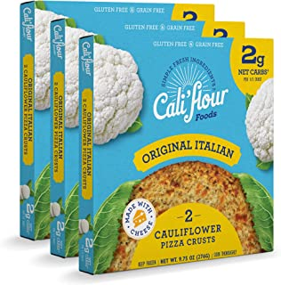 product image for Cali'flour Foods Pizza Crust (Original Italian, 3 Boxes, 6 Crusts) - Fresh Cauliflower Base | Low Carb, High Protein, Gluten and Grain Free | Keto Friendly