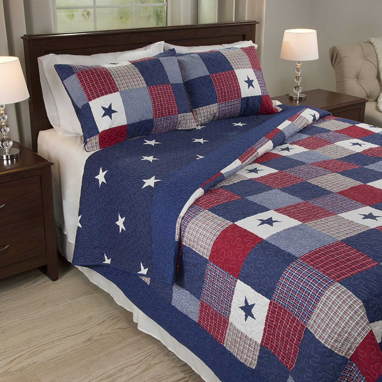 Lavish Home Caroline 3 Piece Quilt Set - King