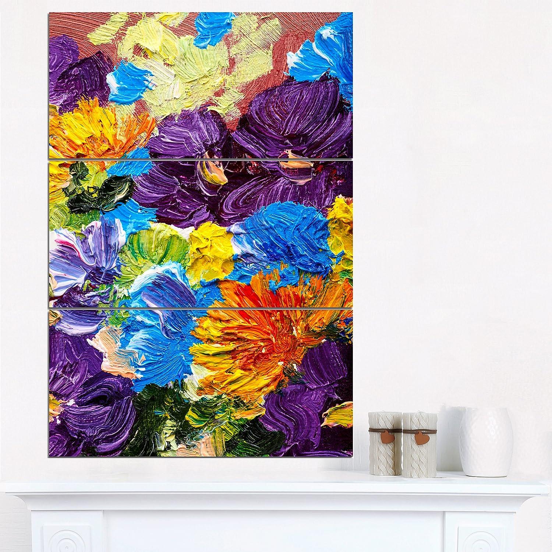 28'' H?x?36'' W?x?1'' D 3P Designart Heavily Textured Flowers-Abstract Metal Wall Art-MT6194-48x28-4 Panels, 28'' H x 48'' W x 1'' D 4P