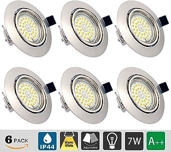 Foco Empotrable LED Techo, Pack de 6 GU10 7W Marco redondo Blanco ...