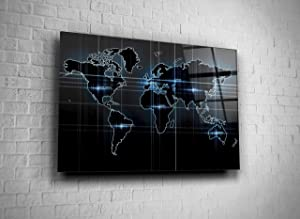 Modern World Map Europe North South America Australia Africa Continents Digital Photo Print Tempered Glass Canvas Wall Art Home Decor Present Office Decor Hotel Decor Modern Art Decor Gift (24x36)
