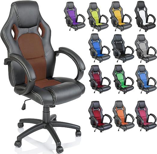Todo para el streamer: TRESKO Silla de oficina Racing silla de escritorio ordenador giratoria, silla Gaming ergonómica, pistón de gas certificado por SGS (Negro/Marrón dorado)