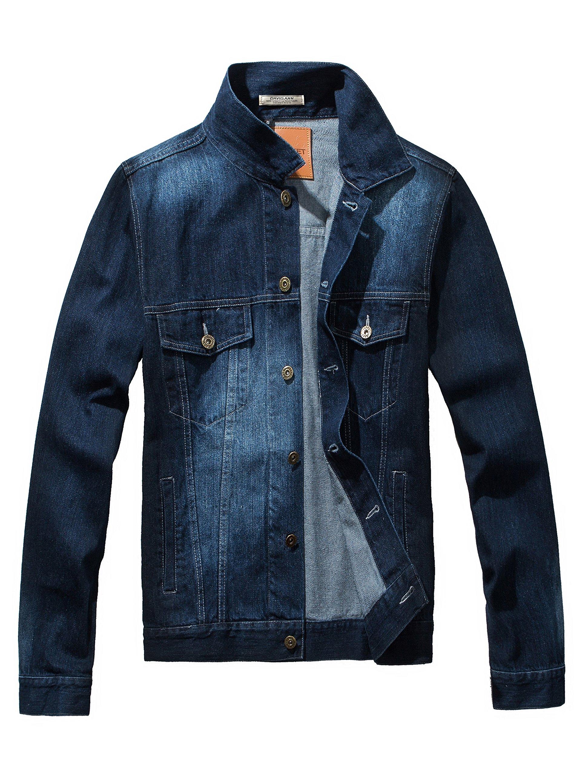 DAVID.ANN Men's Denim Jacket Slim Fit Trucker Coat,Dark Blue,X-Large by DAVID.ANN