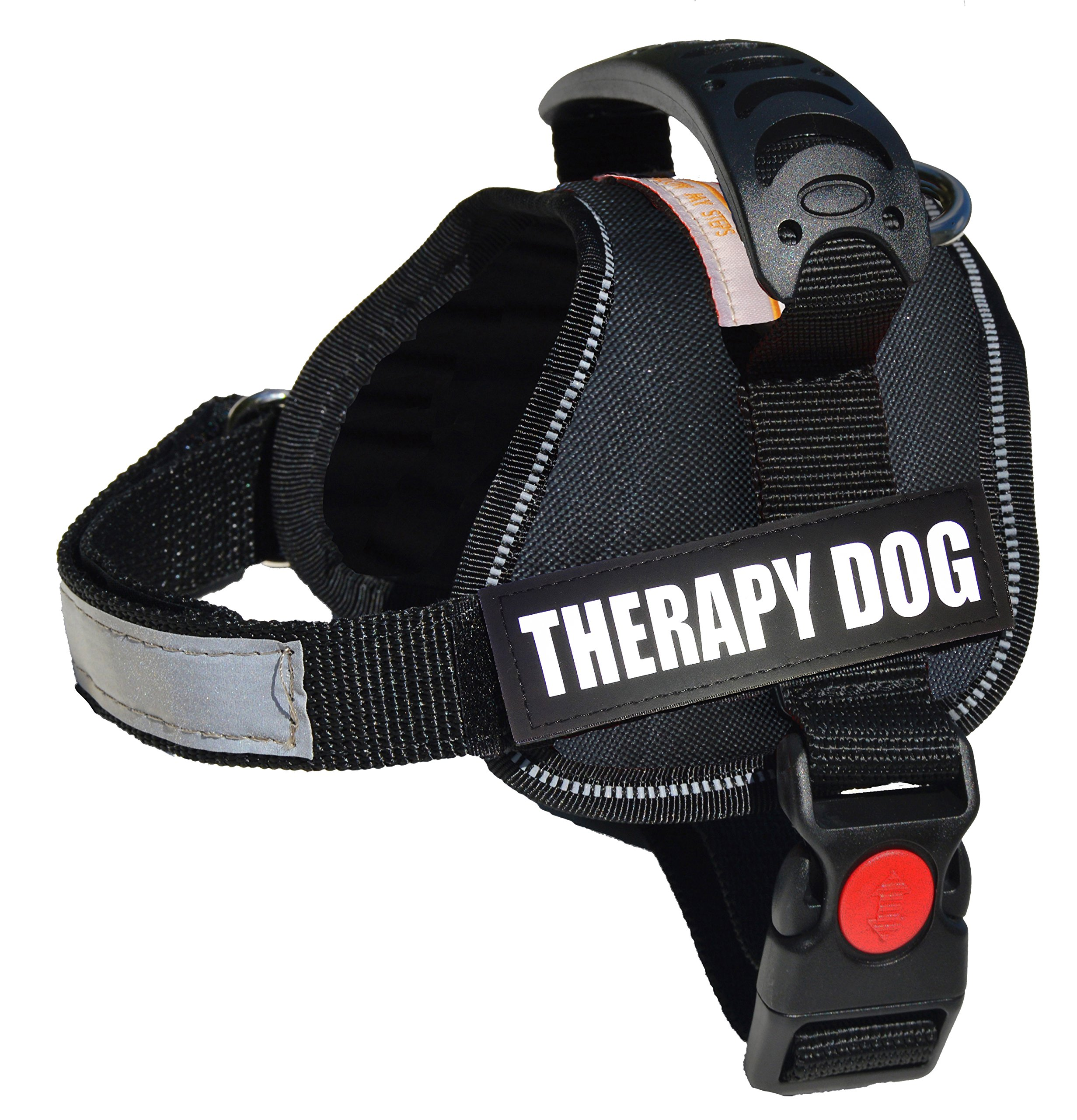 ALBCORP Reflective Therapy Dog Vest Harness, Woven Polyester & Nylon, Adjustable Service Animal Jacket, with 2 Hook and Loop Therapy Dog Removable Patches, Extra Small, Black