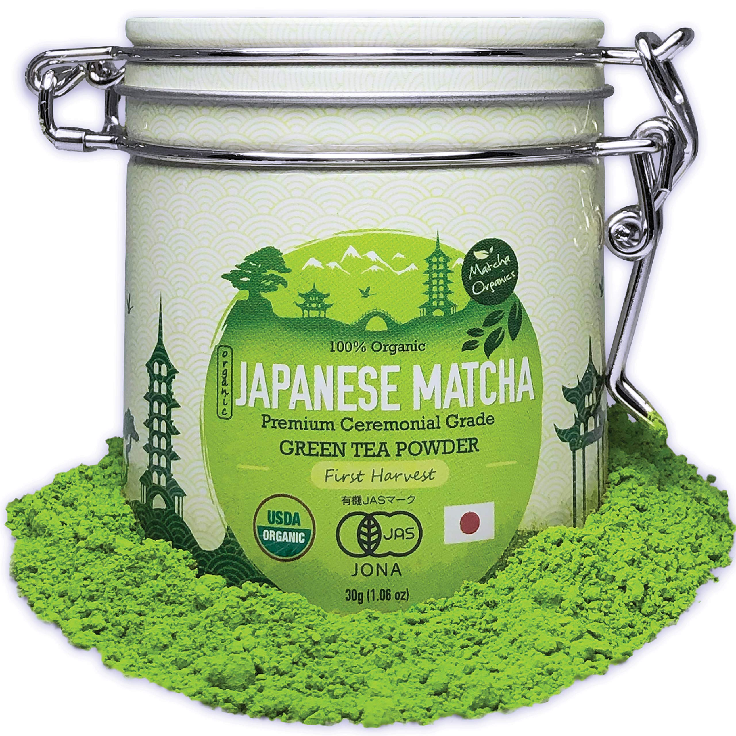 Premium Japanese Ceremonial Grade Matcha Green Tea Powder by Matcha Organics - 1st Harvest HIGHEST - USDA & JAS Organic - 30g Tin [1.06oz] - Perfect for Matcha Ceremonial Grade Latte, Shake, Smoothies & Baking
