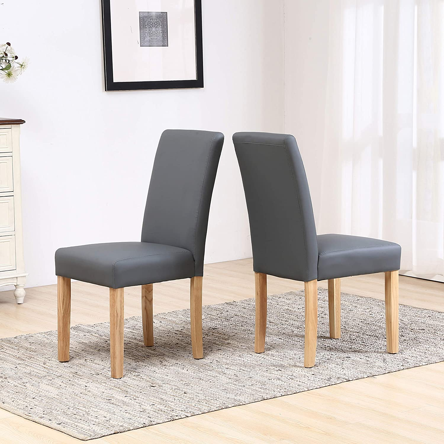 Neo® 2X Pair of Faux PU High Back Seat Leather Dining Room Restaurant Chairs Set Wooden Oak Legs (Cream) Dark Grey