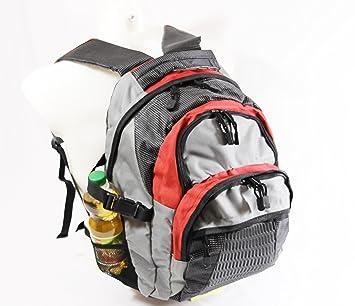 mulitfunktions de mochila/Little-Presents - Mochila con muchos bolsillos en Gris/Rojo/Negro (4504): Amazon.es: Deportes y aire libre