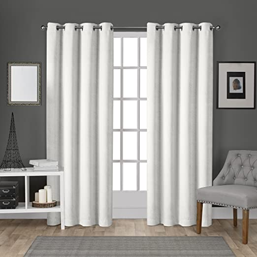 Navy Blue 54x108 Exclusive Home Curtains EH8196-03 2-108G Exclusive Home Velvet Heavyweight Grommet Top Curtain Panel Pair