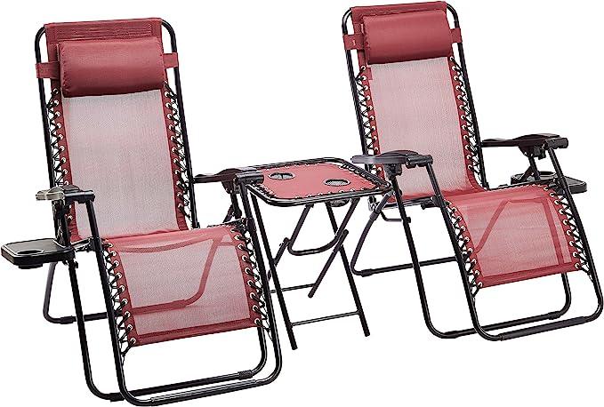 Amazon Basics - Set de 2 sillas con gravedad cero y mesa auxiliar, de color rojo
