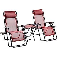 AmazonBasics - Set de 2 sillas con gravedad cero y mesa auxiliar, de color rojo