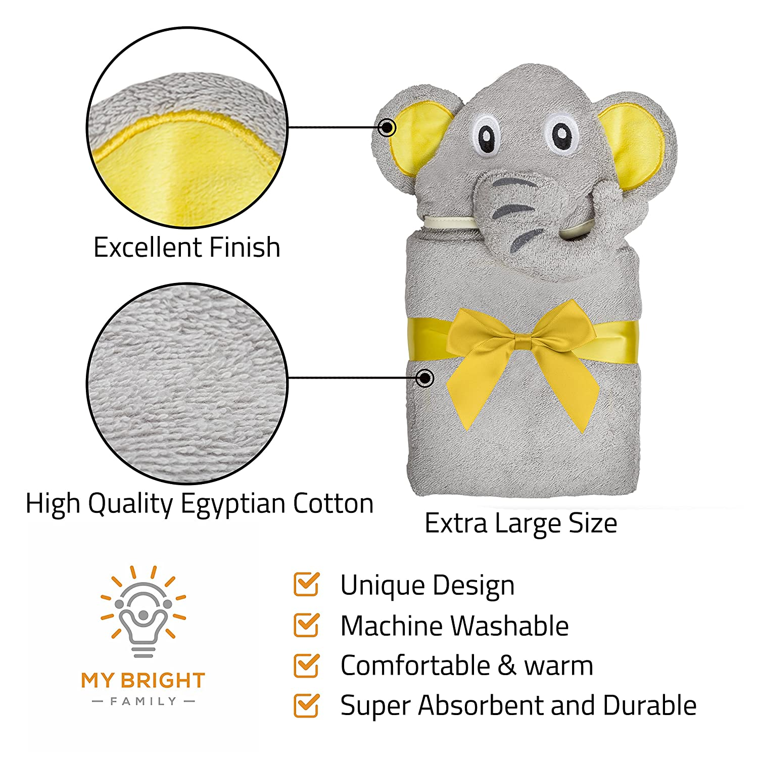Amazon.com : Adorable Elephant Hooded Baby Towel | Luxurious, Extra-Soft, 100% Egyptian Cotton for Newborns, Infants & Kids | Hypoallergenic ...