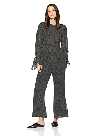 b248bf25cd7 Amazon.com  Rebecca Taylor Women s Long Sleeve Pebble Print Jumpsuit   Clothing