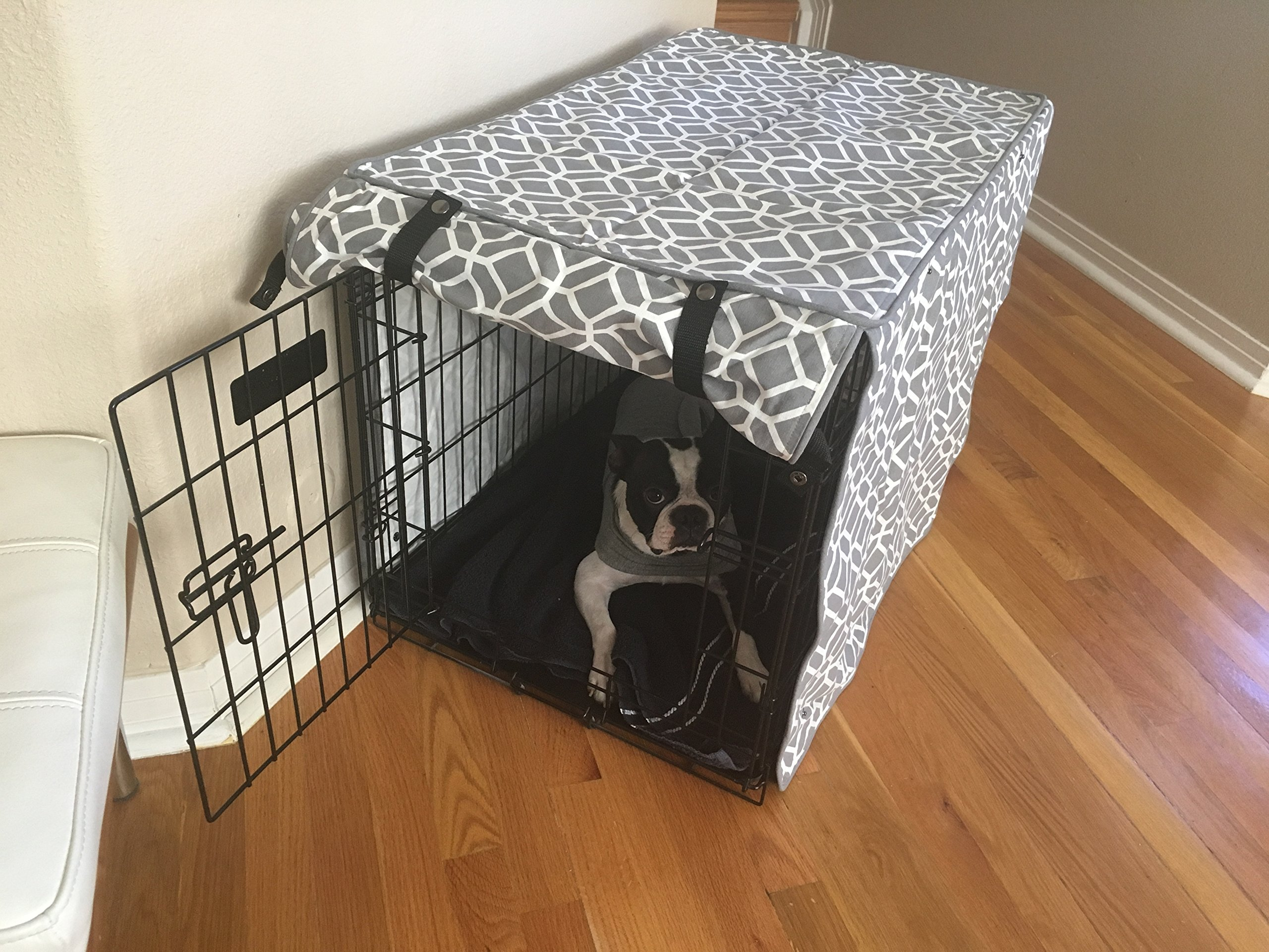 528 Zone Gray & White Stained Glass Print Grey Dog Pet Wire Kennel Crate Cage House Cover (Small, Medium, Large, XL, XXL) (XL 42x28x31)