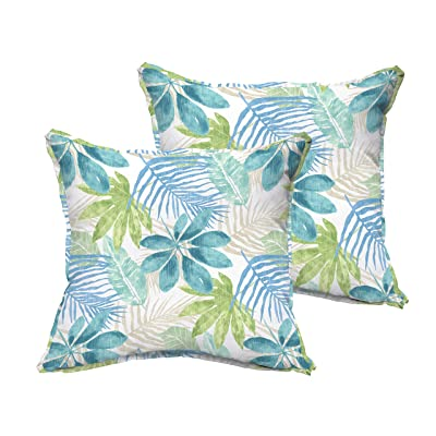 Mozaic AMPS115773 Indoor Outdoor Square Pillow with Corded Edges, Set of 2, 16 x 16, Tropical Blue & Green : Garden & Outdoor