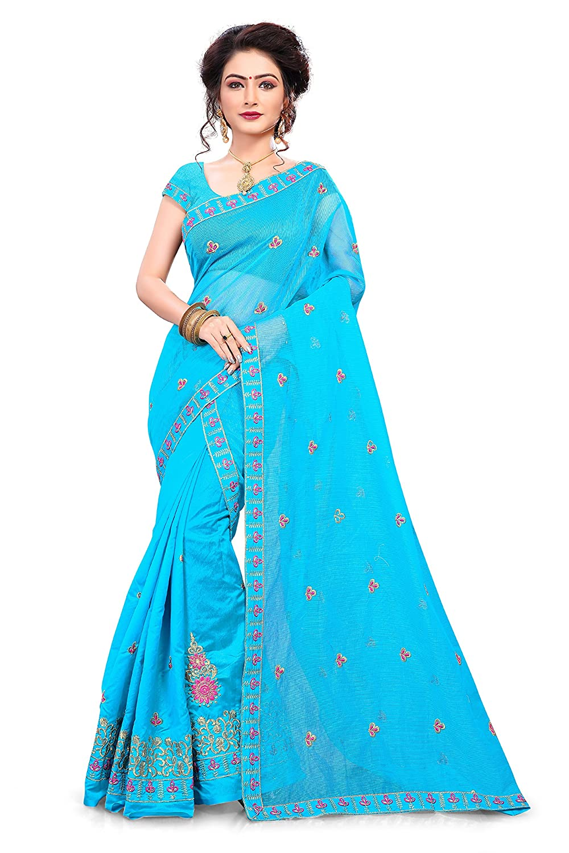 S Kiran's Women's Blue Cotton Mekhla Supernet Chador - Mekhela Sador Saree - Dn 6792