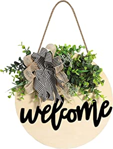 Welcome Sign Wooden Hanging Sign for Front Porch Wreaths for Front Door Decorations for Christmas,Restaurant , Home, Outdoor