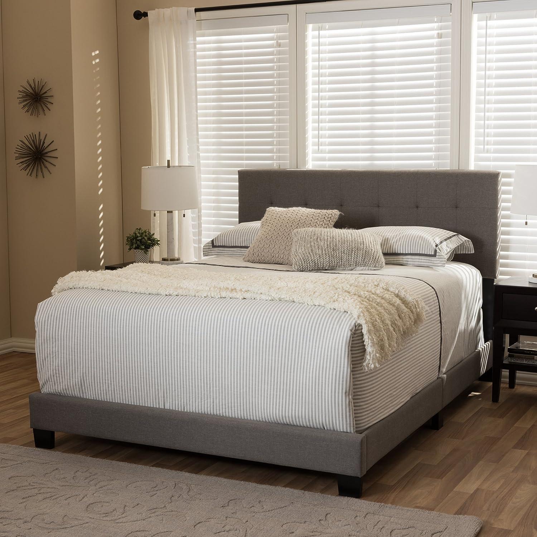 Baxton Studio Grid-Tufted Platform Bed in Gray Full 78.94 in. L x 58.66 in. W x 47.05 in. H