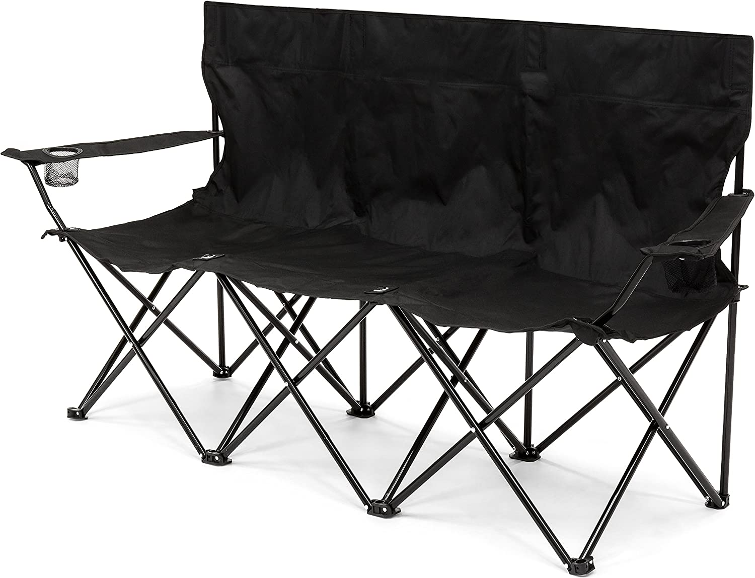 Best Choice Products 3-Person Portable Folding Camping Chair w Built-in Cup Holders, Carrying Bag – Black