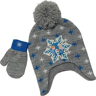 Disney Frozen Childrens Girls Pom Pom Winter Hat and Gloves Set