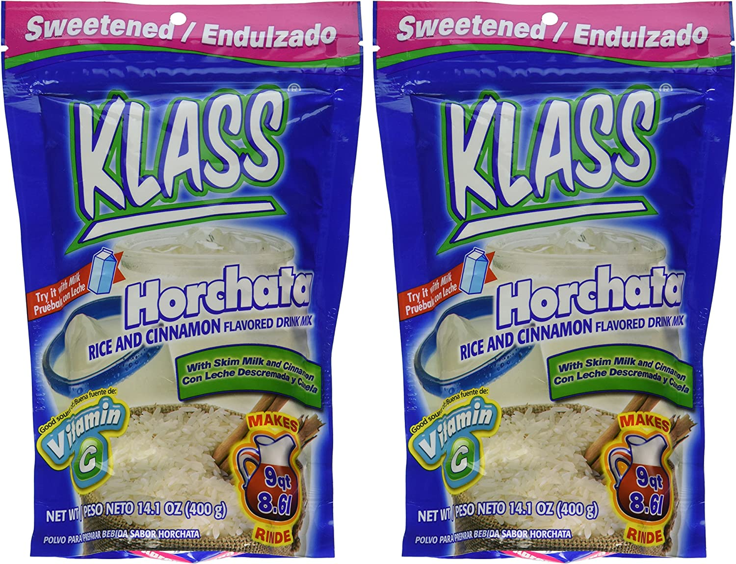 Amazon.com : Klass Horchata, Rice and Cinnamon Drink Mix, 14.1 Oz, (Pack of 2) : Grocery & Gourmet Food