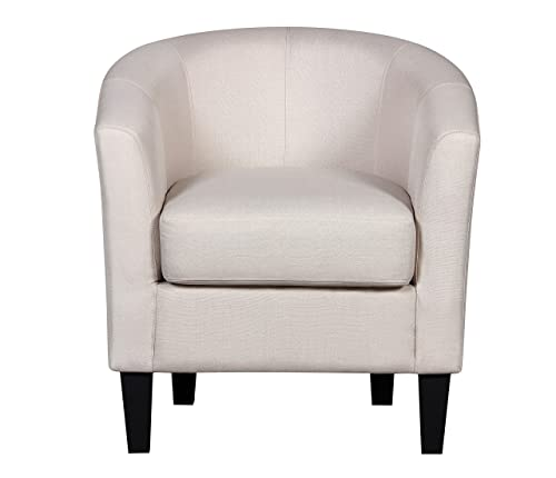 Container Furniture Direct Aisley Collection Traditional Classic Upholstered Linen Barrel Back Living Room Accent Arm Chair