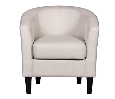 Container Furniture Direct Aisley Collection Traditional Classic Upholstered Linen Barrel Back Living Room Accent Arm Chair, Light Grey