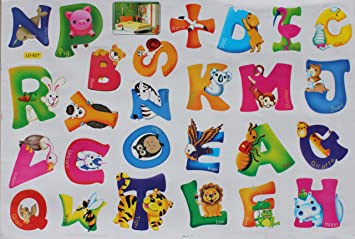 animal alphabet letters early learning peel stick wall decals