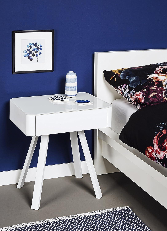 Jahnke Beistell- Nachttisch, Metall, Weiss, 50 x 53 x 40 cm