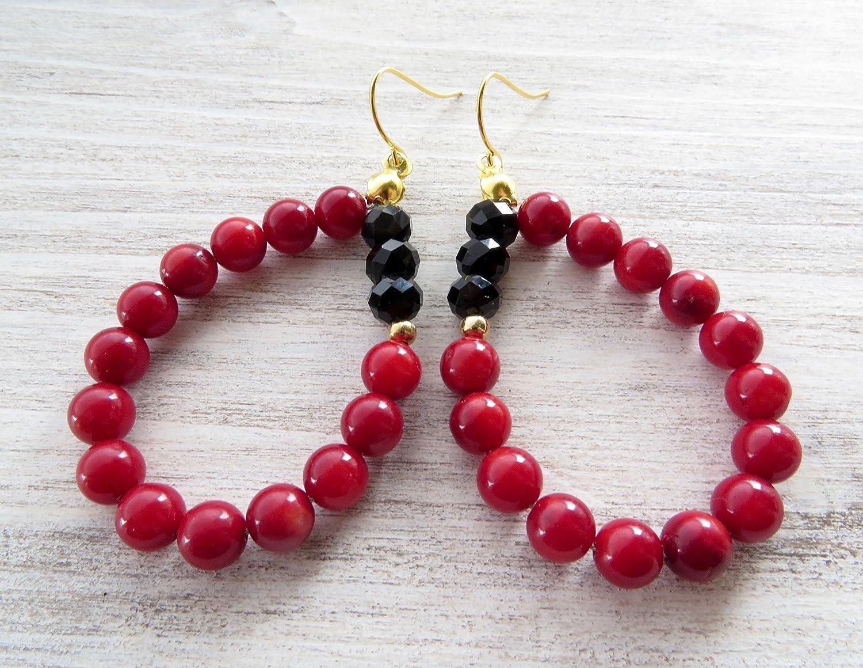 Pendientes de coral rojo y cristal negro, pendientes largos colgantes, pendientes de lagrima, joyas contemporaneas, joyas para mujer, joyas modernas