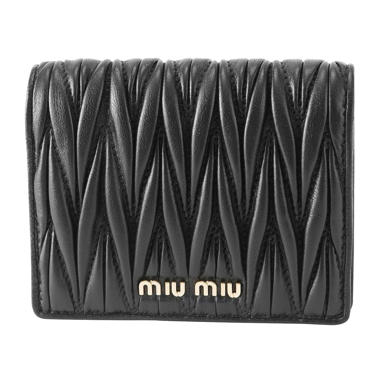 ミュウミュウ(MIU MIU) 2つ折り財布 5MV204 N88 F0002 マテラッセ ブラック 黒 [並行輸入品] B07DCJD8D8