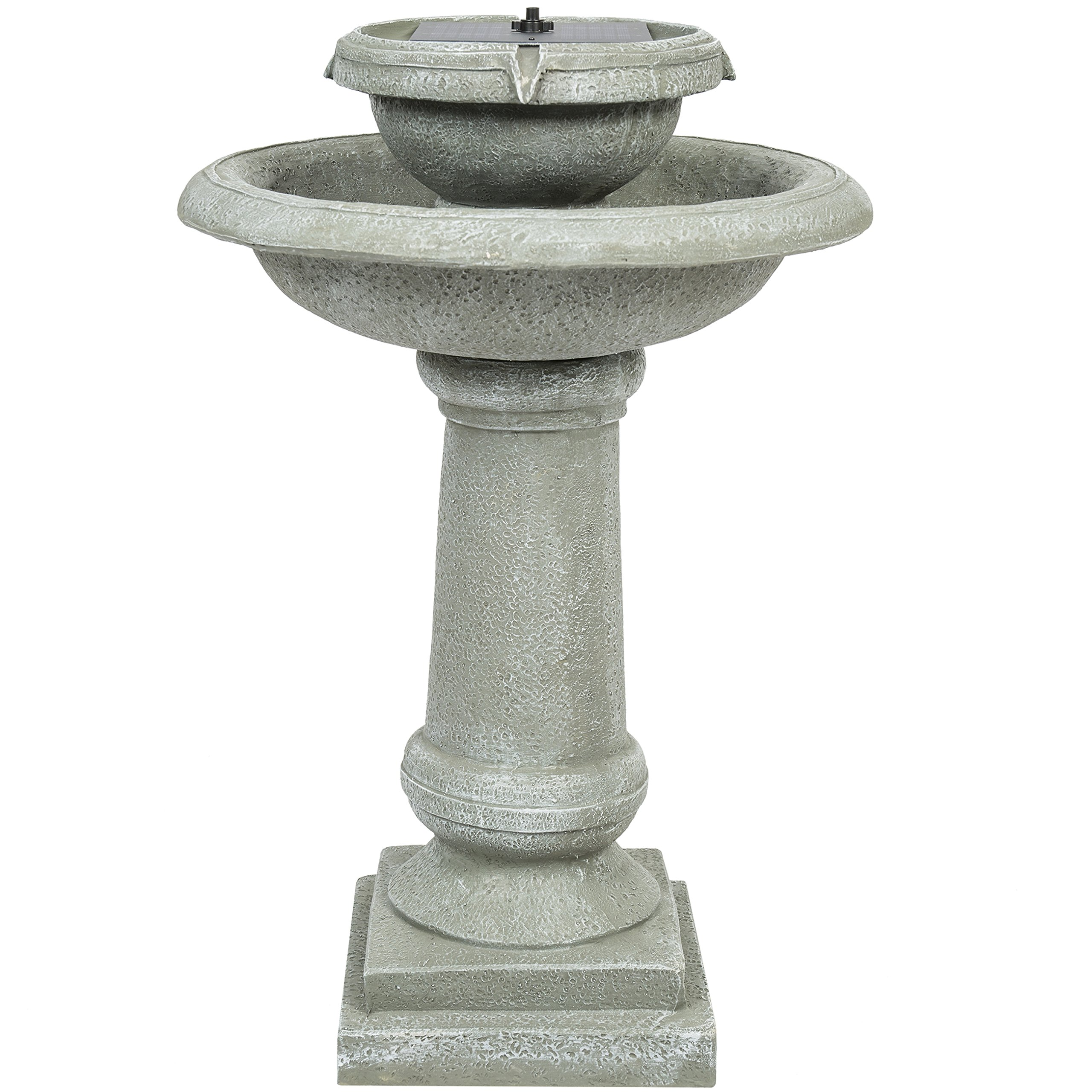 Best Choice Products Solar Power 2 Tier Weathered Stone Bird Bath Fountain Gray by Best Choice Products
