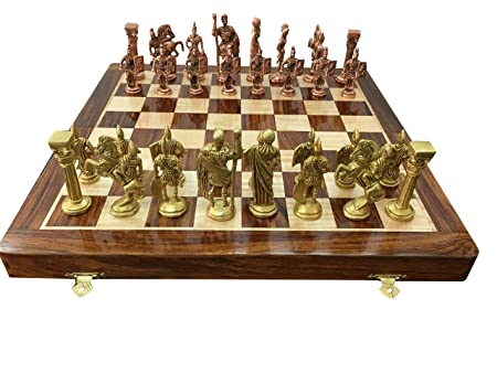 CHESSNCRAFTS 14 Folding Brass Chess Roman Figures Board Game Set-Best for Gifting, Home Decor & Playing.