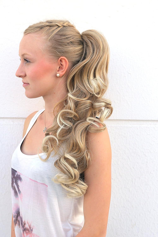 Prettyland - DH254 pelo largo Extensión de cabello, Peluca Cola de Caballo ondulada con clips- 27T613