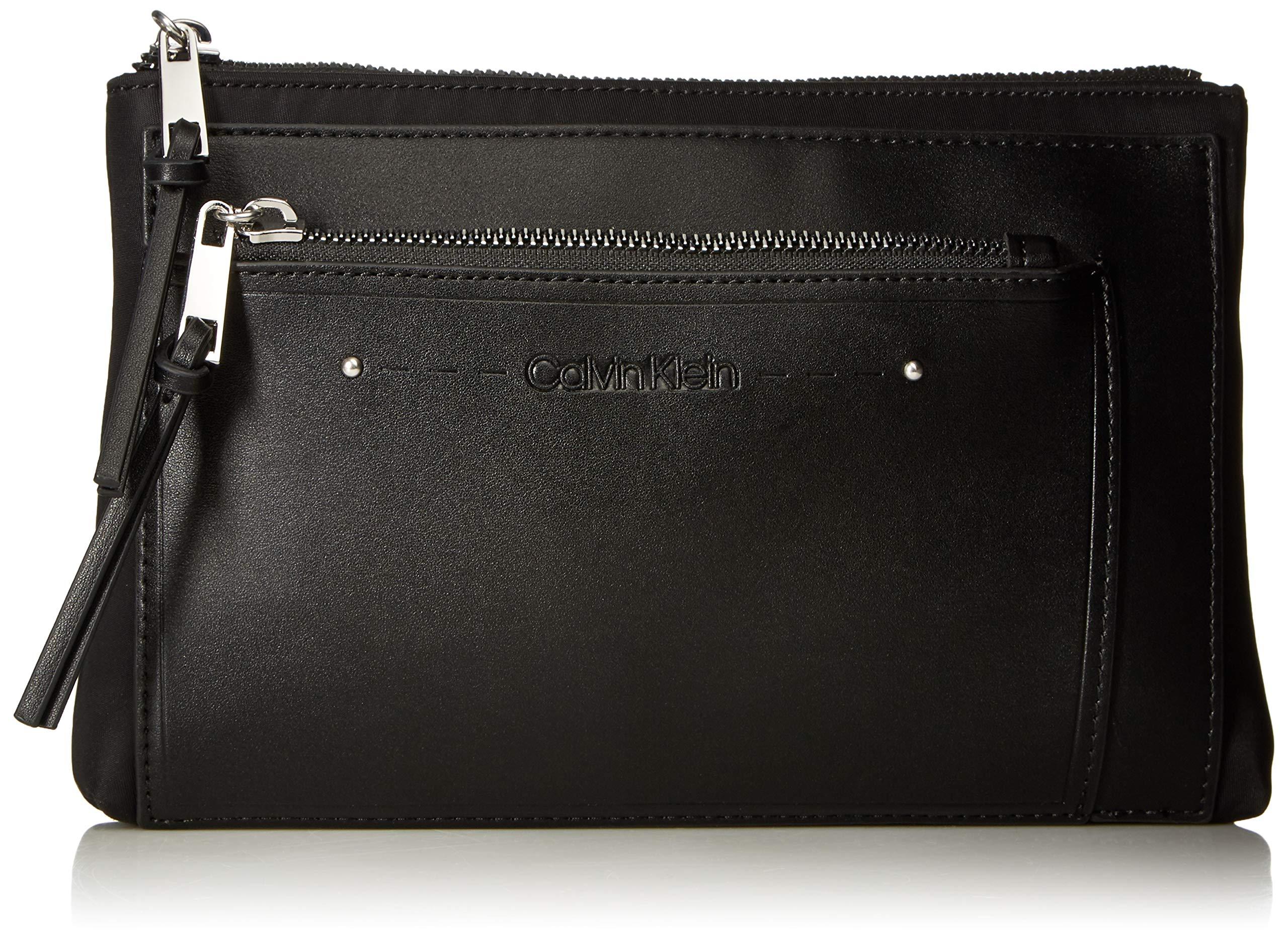 Calvin Klein Lane Nylon Key Item Belt Bag Fanny Pack, black/silver