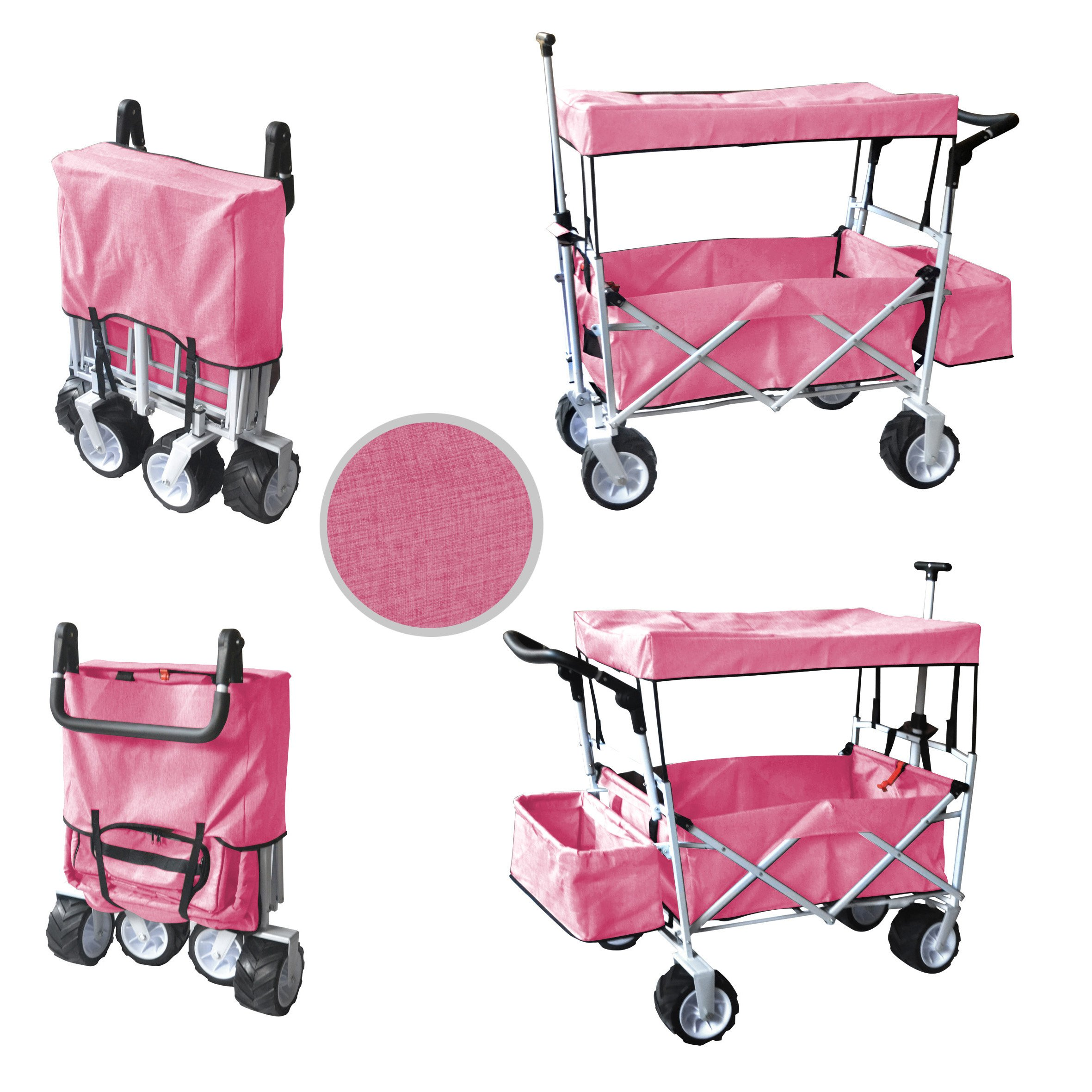 PINKFREE ICE COOLER PUSH AND PULL HANDLE FOLDING BABY STROLLER WAGON OUTDOOR SPORT COLLAPSIBLE KIDS TROLLEY W/ CANOPY GARDEN UTILITY SHOPPING TRAVEL BEACH CART - EASY SETUP NO TOOL NECESSARY by WagonBuddy
