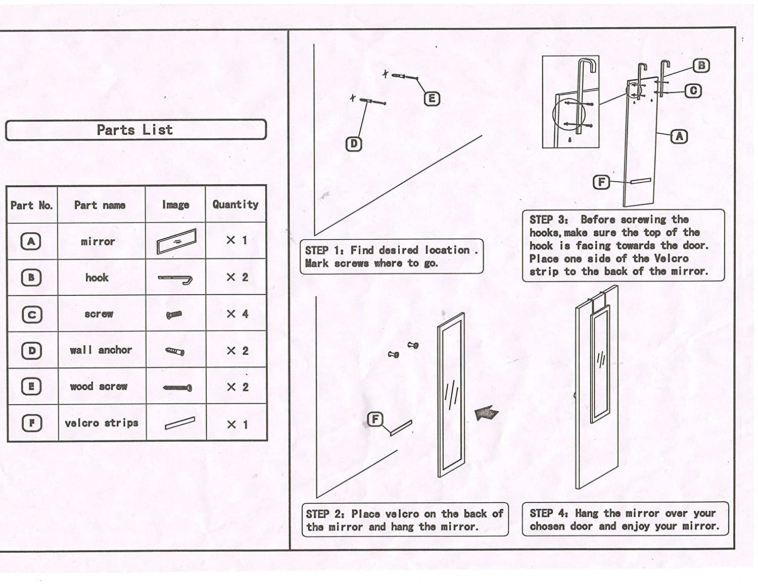 Amazon.com: Over The Door Mirror / Wall Mirror (14u201d X 48u201d) U2013 Full Length,  White Wooden Furniture Frame (Hardware And Instructions Included): Home U0026  Kitchen
