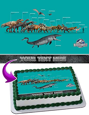 Jurassic World Dinosours Edible Image Cake Topper Personalized